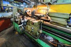 Vintage metal cutting lathe. Stock Photo