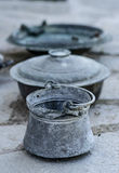 Vintage metal decorative pots Royalty Free Stock Images