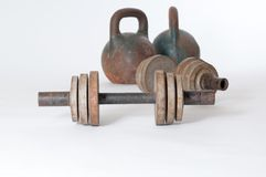 Vintage metal dumb bells Stock Images