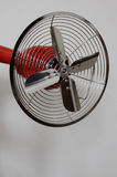 Vintage metal fan on neutral background Royalty Free Stock Image