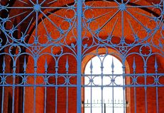 Vintage, metal gates with openwork wrought-iron grilles. royalty free stock photo