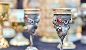 Vintage metal goblet Stock Images