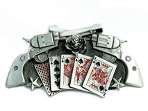 Vintage Metal guns roses cards and stars. Belt buckle against a white background Royalty Free Stock Image