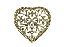 Vintage metal heart isolated Royalty Free Stock Photography