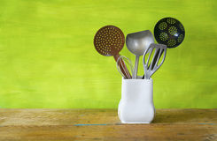 Vintage metal kitchen utensils Royalty Free Stock Photography