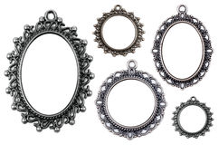 Vintage metal medallion frames, isolated. Stock Images