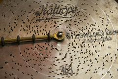 Vintage metal music disk for mechanical music box. Stock Photography