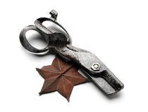 Vintage metal shears and star Royalty Free Stock Image