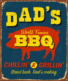 Vintage metal sign. Dad's World Famous BBQ vintage sign Royalty Free Stock Images