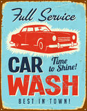 Vintage metal sign. Realistic Car Wash Vintage Metal sign Royalty Free Stock Photos