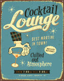 Vintage metal sign. Realistic Cocktail Lounge Vintage Metal sign Royalty Free Stock Images