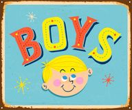 Vintage metal sign - BOYS room or toilet.