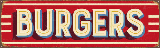 Vintage metal sign - Burgers. Vector EPS10. Grunge and rusty effects can be easily removed for a cleaner look Royalty Free Stock Images