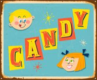 Vintage metal sign - CANDY for Boys and Girls. Royalty Free Stock Image