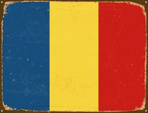 Vintage Metal Sign - Chad Flag. Stock Images