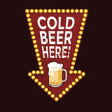 Vintage metal sign Cold Beer Here Stock Images