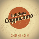 Vintage metal sign - Delicious Cappucinno Royalty Free Stock Image