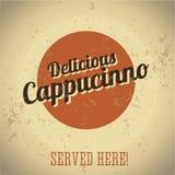 Vintage metal sign - Delicious Cappucinno Royalty Free Stock Image