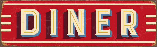 Vintage metal sign - Diner. Vector EPS10. Grunge and rusty effects can be easily removed for a cleaner look Stock Image