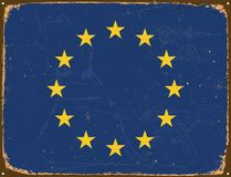 Vintage Metal Sign - Europe Flag. Royalty Free Stock Photography