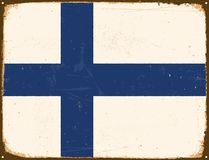 Vintage Metal Sign - Finland Flag. Vintage Metal Sign - Finland Flag - Vector EPS10. Grunge scratches and stain effects can be easily removed for a cleaner look Royalty Free Stock Photos