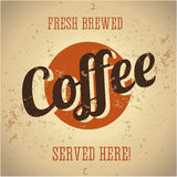 Vintage metal sign - fresh brewed coffee stock illustration
