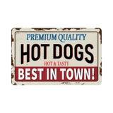 Vintage metal sign - Hot Dogs - Vector EPS10. Grunge and rusty effects. Vintage metal sign - Hot Dogs - Vector EPS10 stock illustration