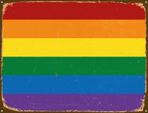 Vintage Metal Sign - Rainbow Flag. Stock Photography