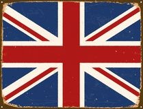 Vintage Metal Sign - United Kingdom Flag. Vintage Metal Sign - United Kingdom Flag - Vector EPS10. Grunge scratches and stain effects can be easily removed for Royalty Free Stock Photography