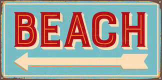 Vintage Metal Sign. Vintage Vector Metal Sign - Beach direction - with a realistic used and rusty effect that can be easily removed for a clean, brand new sign Stock Images