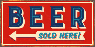 Vintage Metal Sign. Vintage Vector Metal Sign - Beer Sold Here - with a realistic used and rusty effect that can be easily removed for a clean, brand new sign Royalty Free Stock Image