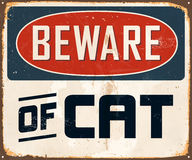 Vintage Metal Sign. Vintage Vector Metal Sign - Beware of Cat - with a realistic used and rusty effect that can be easily removed for a clean, brand new sign Royalty Free Stock Photos