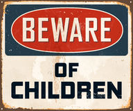 Vintage Metal Sign. Vintage Vector Metal Sign - Beware of children - with a realistic used and rusty effect that can be easily removed for a clean, brand new Royalty Free Stock Images