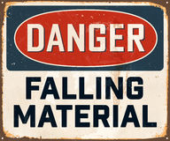 Vintage Metal Sign. Vintage Vector Metal Sign - Danger Falling Material - with a realistic used and rusty effect that can be easily removed for a clean, brand Royalty Free Stock Images