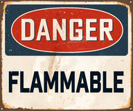 Vintage Metal Sign. Vintage Vector Metal Sign - Danger Flammable - with a realistic used and rusty effect that can be easily removed for a clean, brand new sign Royalty Free Stock Photos