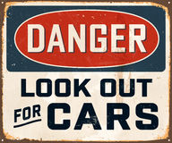 Vintage Metal Sign. Vintage Vector Metal Sign - Danger Look Out For Cars - with a realistic used and rusty effect that can be easily removed for a clean, brand Stock Photography