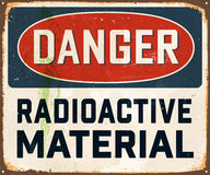 Vintage Metal Sign. Vintage Vector Metal Sign - Danger Radioactive Material - with a realistic used and rusty effect that can be easily removed for a clean Royalty Free Stock Photo