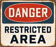 Vintage Metal Sign. Vintage Vector Metal Sign - Danger Restricted Area - with a realistic used and rusty effect that can be easily removed for a clean, brand new Royalty Free Stock Photos