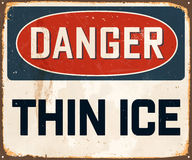 Vintage Metal Sign. Vintage Vector Metal Sign - Danger Thin Ice - with a realistic used and rusty effect that can be easily removed for a clean, brand new sign Royalty Free Stock Photography