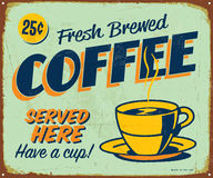 Vintage Metal Sign. Vintage Vector Metal Sign - Fresh Brewed Coffee Served Here - with a realistic used and rusty effect that can be easily removed for a clean Stock Image