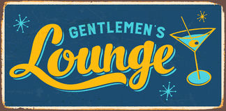 Vintage Metal Sign. Vintage Vector Metal Sign - Gentlemen`s Lounge - with a realistic used and rusty effect that can be easily removed for a clean, brand new Stock Image