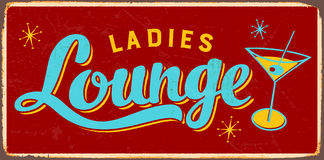 Vintage Metal Sign. Vintage Vector Metal Sign - Ladies Lounge - with a realistic used and rusty effect that can be easily removed for a clean, brand new sign Stock Photos