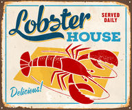 Vintage Metal Sign. Vintage Vector Metal Sign - Lobster House - with a realistic used and rusty effect that can be easily removed for a clean, brand new sign Stock Photos