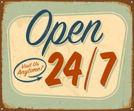 Vintage Metal Sign. Vintage Vector Metal Sign - Open 24/7 - with a realistic used and rusty effect that can be easily removed for a clean, brand new sign Stock Photography