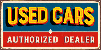Vintage Metal Sign. Vintage Vector Metal Sign - Used Cars Authorized Dealer - with a realistic used and rusty effect that can be easily removed for a clean Stock Images