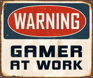 Vintage Metal Sign. Vintage Vector Metal Sign - Warning Gamer at Work - with a realistic used and rusty effect that can be easily removed for a clean, brand new Royalty Free Stock Image