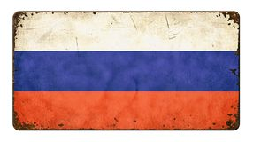 Flag of Russia. Vintage metal sign on a white background - Flag of Russia Royalty Free Stock Image