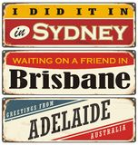 Vintage metal signs collection with Australian cities stock illustration