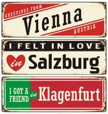 Vintage metal signs collection with Austria cities Stock Images