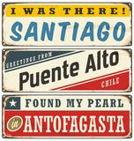 Vintage metal signs collection with Chile cities Royalty Free Stock Photo